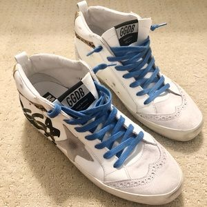 Golden Goose Midstar White Leather Leopard Sneaker